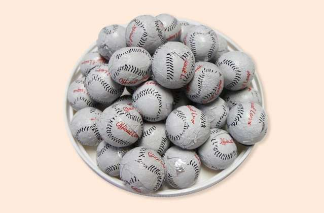 Foil Wrapped Baseballs: click to enlarge