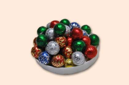 Foiled Christmas Balls: click to enlarge